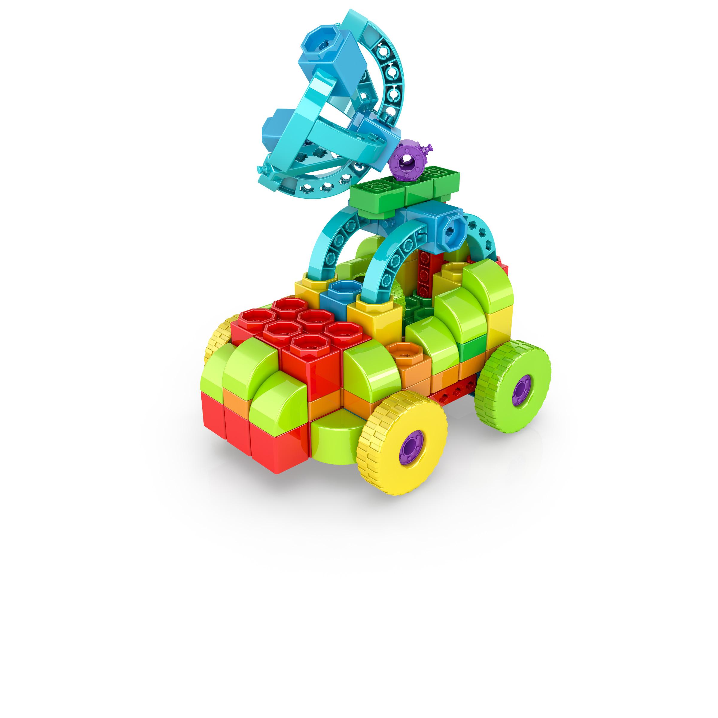 , SateliteCar 1, משחקי חשיבה לילדים engino, משחקים לגיל הרך playgro, משחק הרכבות אנג'ינו, משחקי רכבות