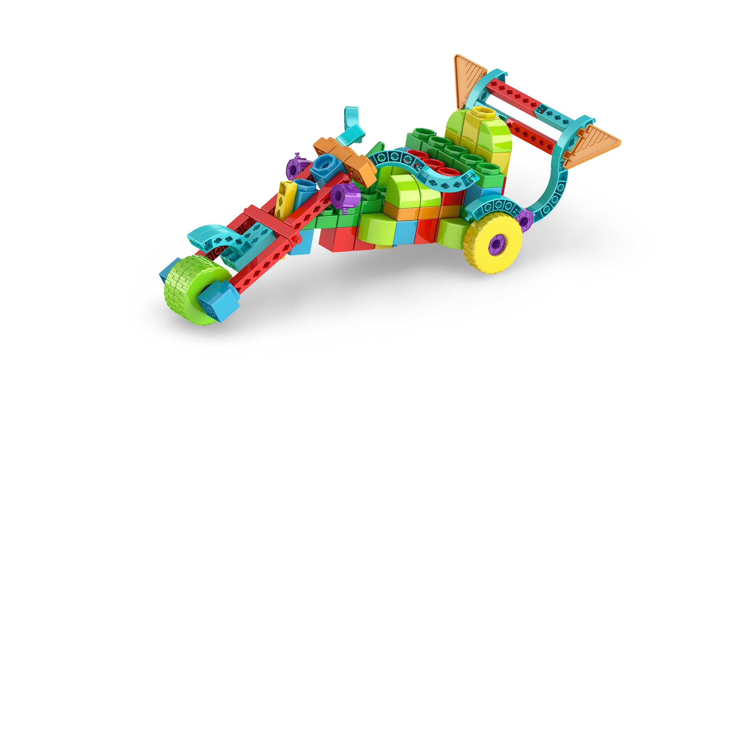 , ThreeWheeler 1, משחקי חשיבה לילדים engino, משחקים לגיל הרך playgro, משחק הרכבות אנג'ינו, משחקי רכבות